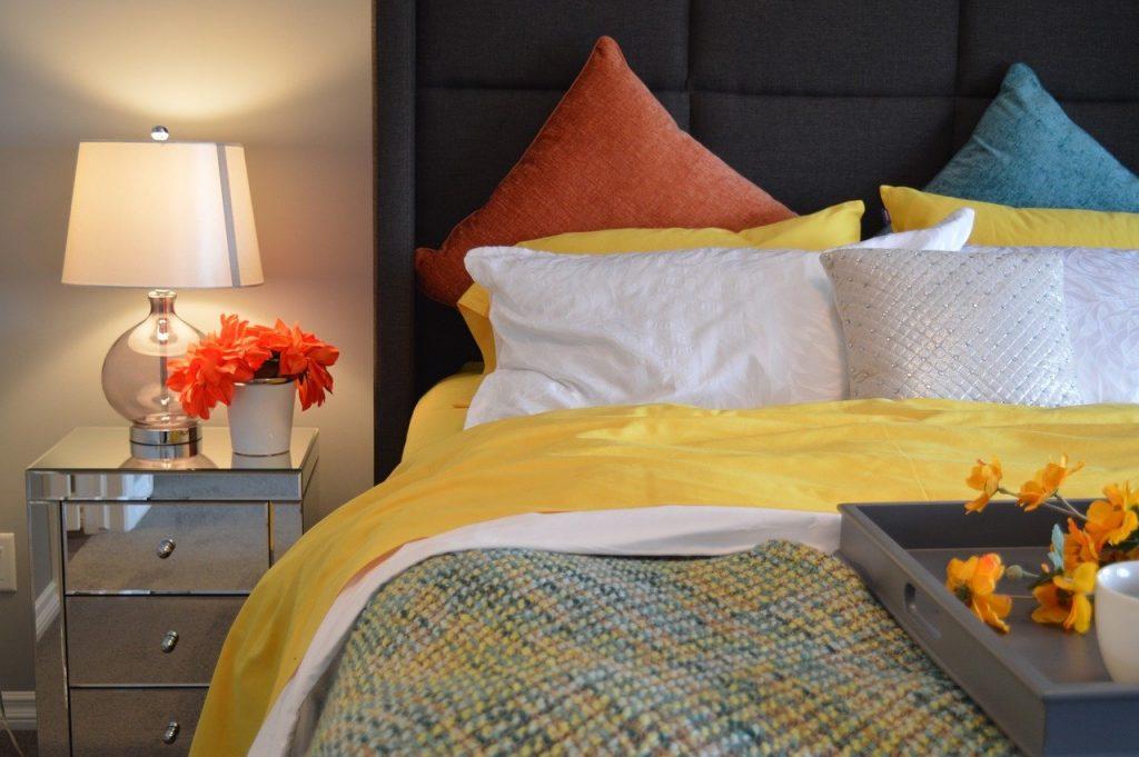 bed, bedroom, lamp